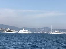 Various super yachts at anchor in the bay, nr St Tropez