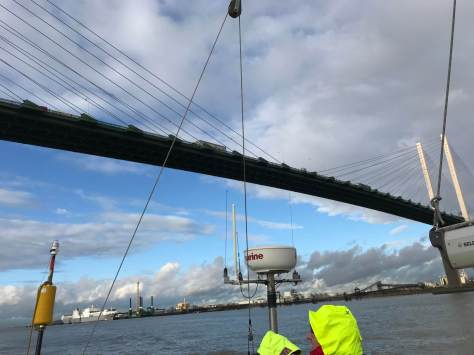 Sailing under the Queen Elizabeth Bridge - aka the Dartford Crossing